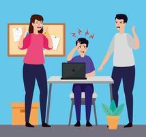 gestresste Menschen am Arbeitsplatz vektor