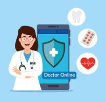läkare online-teknik med smartphone och ikoner