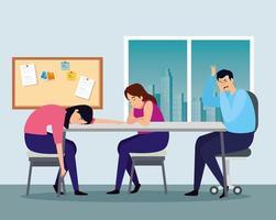 depressive Menschen am Arbeitsplatz vektor
