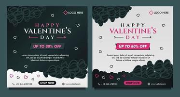 glad Alla hjärtans dag försäljning banner, sociala medier post mall med mörk och grå bakgrund vektor