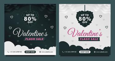 Happy Valentinstag Sale Banner, Social Media Post Vorlage mit dunklem und grauem Hintergrund vektor