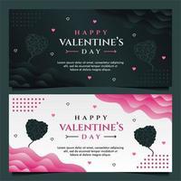 glad Alla hjärtans dag banner mall med mörk och grå bakgrund
