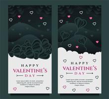 Happy Valentinstag Banner Vorlage mit dunklem und grauem Hintergrund