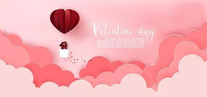papper konst av hjärtat ballong flyta himmel vektor