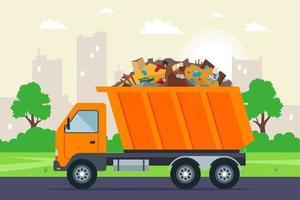Der orangefarbene Müllwagen fährt vor dem Hintergrund der Stadt zur Müllkippe auf der Straße. flache Vektorillustration. vektor