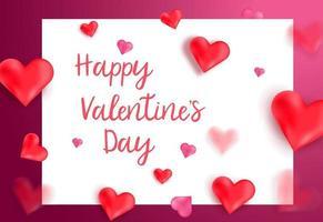 Alla hjärtans dag gratulationskort design banner, affisch bakgrund med hjärta 3d formad. vektor