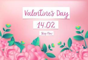 Alla hjärtans dag rosa ros bakgrund med söta kärlek gratulationskort. vektor