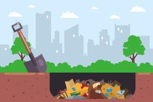 Es ist illegal, Stadtmüll in einer Grube zu begraben. flache Vektorillustration. vektor