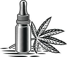 svartvit illustration av cannabisolja på vit bakgrund