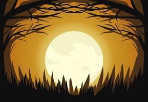Halloween mörka månen ljus skog design vektor