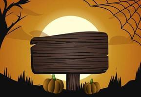 halloween mörka månen ljus skog och skylt design vektor