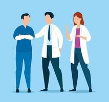 grupp läkare och manlig sjuksköterska