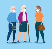 grupp gamla kvinnor med ansiktsmasker vektor