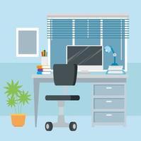 Arbeitsplatz mit Schreibtisch und Computerhintergrund vektor