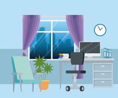 Arbeitsplatz mit Schreibtisch und Computerhintergrund