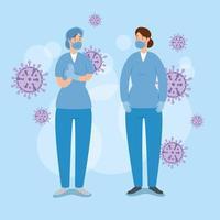 sjuksköterskor med partiklar covid-19 vektor