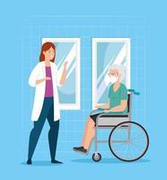 gammal kvinna med ansiktsmask och läkare vektor