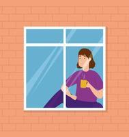 Kampagne bleiben zu Hause mit Frau am Fenster