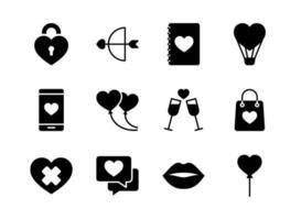 Alla hjärtans Ikonuppsättning. glad Alla hjärtans dag med glyph stil. vektor