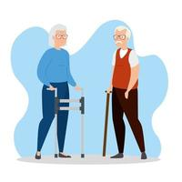 söta gamla par avatar karaktär vektor