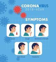 Symptome des Coronavirus 2019 ncov mit Symbolen vektor