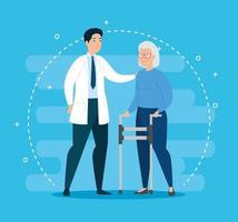 gammal kvinna med rullator och läkare vektor