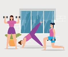 Frauen, die zu Hause trainieren