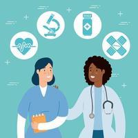 Arzt mit Sanitätern und medizinischen Symbolen