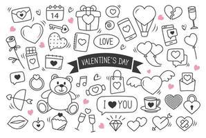 Alla hjärtans dag handritade doodles objekt och symboler. uppsättning av kärlek och element bakgrund. vektor