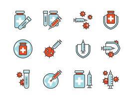 covid-19 Impfstoff Symbol Set Colorline-Stil. Zeichen und Symbol für Websit, Druck, Aufkleber, Banner, Poster. vektor