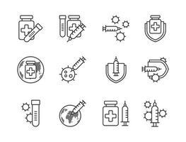 Covid-19 Impfstoff Symbol Set Gliederungsstil. Zeichen und Symbol für Websit, Druck, Aufkleber, Banner, Poster. vektor