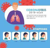 symtom på coronavirus 2019 ncov med ikoner vektor