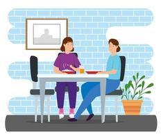 Kampagne bleiben zu Hause mit Frauen essen