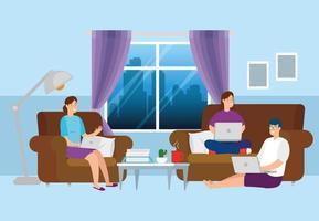 människor som arbetar hemifrån i vardagsrummet vektor
