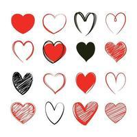 rotes Herz Valentinstag Symbolsatz. Liebesikonenhand gezeichnet lokalisiert auf weißem Hintergrund. vektor