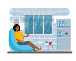 kvinna som arbetar hemifrån vektor