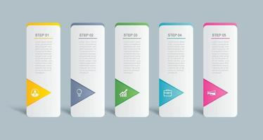 5 data infographics flik index mall design. vektor illustration abstrakt bakgrund. kan användas för arbetsflödeslayout, affärssteg, banner, webbdesign.