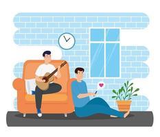 Kampagne bleiben zu Hause mit Männern im Wohnzimmer