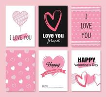 Valentinstag Grußkarten mit Herzen und Symbol Dekoration für Einladung, Flyer, Plakate, Tag, Banner. vektor