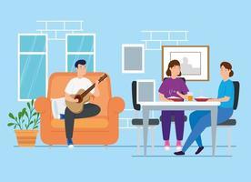 Kampagne bleiben zu Hause mit Menschen im Wohnzimmer