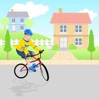 pojke leker med cykel runt grannskapet vektor