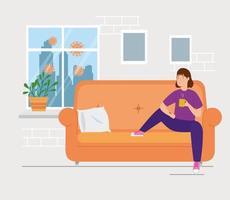 Kampagne bleiben zu Hause mit Frau im Wohnzimmer Kaffee trinken