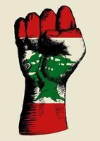 skissillustration av en knytnäve med libanoninsignier. anda i en nation