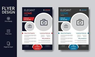 kreativ modern röd och blå fastighetsreklamdesign för elegant hem