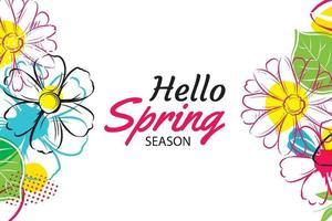 Hallo Frühlingsbanner-Vorlage mit bunter Blume. kann für Gutscheine, Tapeten, Flyer, Einladungen, Poster, Broschüren, Gutscheinrabatte verwendet werden. vektor