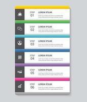 6 Dateninfografiken Registerkarte Papier Indexvorlage. abstrakter Hintergrund der Vektorillustration. kann für Workflow-Layout, Geschäftsschritt, Banner, Webdesign verwendet werden.
