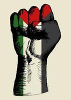 skissillustration av en knytnäve med palestina insignier. anda i en nation