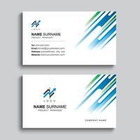 minimales Visitenkarten-Druckschablonendesign. blaue und grüne Farbe einfaches sauberes Layout.