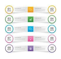 fliken infographics i horisontellt pappersindex med 10 datamall. vektor illustration abstrakt bakgrund. kan användas för arbetsflödeslayout, affärssteg, banner, webbdesign.