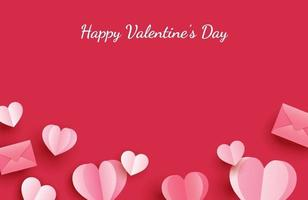 Glad Alla hjärtans dag gratulationskort med papper hjärtan på röd pastell bakgrund.